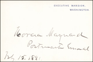 HORACE MAYNARD - WHITE HOUSE CARD SIGNED 02/15/1881