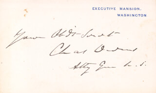 Autographs: CHARLES DEVENS - WHITE HOUSE CARD SIGNED