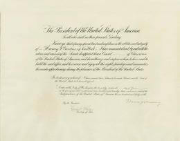 PRESIDENT WARREN G. HARDING - DIPLOMATIC APPOINTMENT SIGNED 06/22/1922 CO-SIGNED BY: CHIEF JUSTICE CHARLES E HUGHES