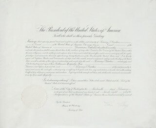 Autographs: PRESIDENT CALVIN COOLIDGE - DIPLOMATIC APPOINTMENT SIGNED 02/13/1928 CO-SIGNED BY: FRANK B. KELLOGG