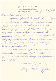 GENERAL ANTHONY C. MCAULIFFE - AUTOGRAPH LETTER SIGNED 01/09/1965