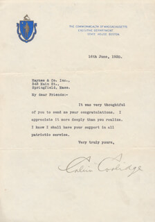 PRESIDENT CALVIN COOLIDGE - TYPED LETTER SIGNED 06/16/1920