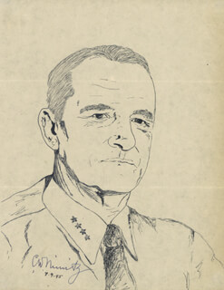 ADMIRAL CHESTER W. NIMITZ - SKETCH SIGNED 07/09/1945
