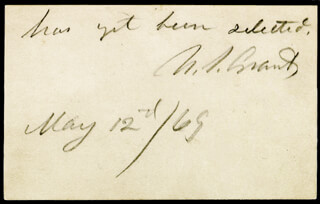 PRESIDENT ULYSSES S. GRANT - AUTOGRAPH NOTE SIGNED 05/12/1869
