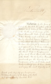 Autographs: QUEEN VICTORIA (GREAT BRITAIN) - MILITARY APPOINTMENT SIGNED 03/13/1867 CO-SIGNED BY: PRIME MINISTER HENRY JOHN TEMPLE (GREAT BRITAIN)