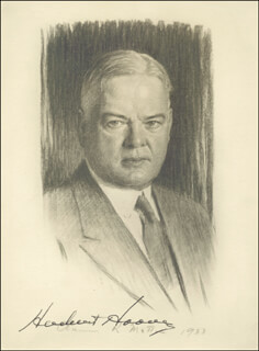 Autographs: PRESIDENT HERBERT HOOVER - PRINTED ART SIGNED IN INK CIRCA 1933