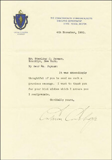 Autographs: PRESIDENT CALVIN COOLIDGE - TYPED LETTER SIGNED 11/04/1920