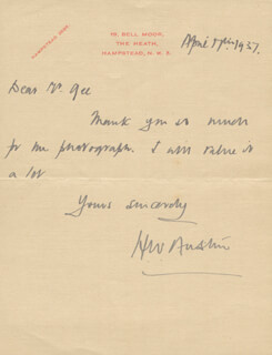 H. WILFRED BUNNY AUSTIN - AUTOGRAPH LETTER SIGNED 04/14/1937