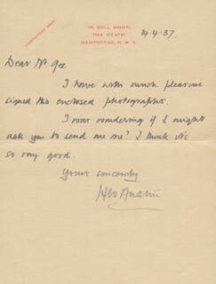 Autographs: H. WILFRED BUNNY AUSTIN - AUTOGRAPH LETTER SIGNED 04/17/1937