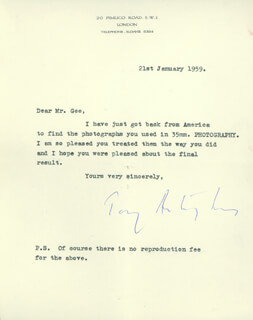 Autographs: ANTONY FIRST EARL OF SNOWDON ARMSTRONG-JONES - TYPED LETTER SIGNED 01/21/1959