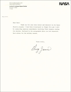 GREG JARVIS - TYPED LETTER SIGNED