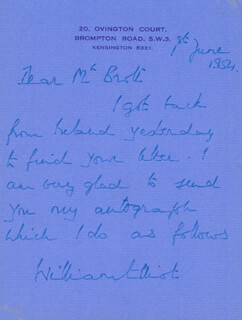 AIR CHIEF MARSHAL WILLIAM ELLIOT - AUTOGRAPH LETTER SIGNED 06/01/1954