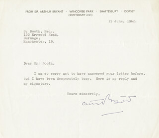 Autographs: SIR ARTHUR BRYANT - TYPED LETTER SIGNED 06/15/1962