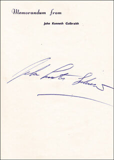 JOHN KENNETH GALBRAITH - AUTOGRAPH