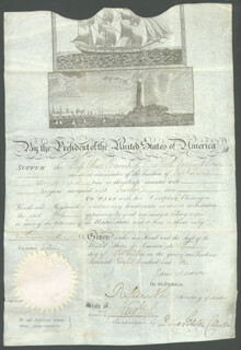 PRESIDENT JAMES MADISON - WHALING SHIPS PAPERS SIGNED 09/03/1810 CO-SIGNED BY: DAVID GELSTON, ROBERT SMITH (POLITICIAN)