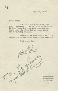 LOWELL THOMAS - TYPED LETTER SIGNED 06/29/1938