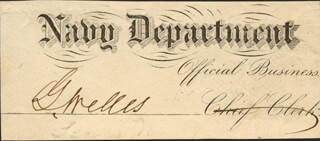 GIDEON WELLES - DOCUMENT FRAGMENT SIGNED