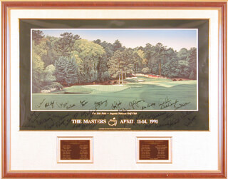 ARNOLD PALMER - PRINTED ART SIGNED IN INK CIRCA 1991 CO-SIGNED BY: JOHN BRODIE, GAY BREWER, BRUCE DEVLIN, AL GEIBERGER, ORVILLE MOODY, BOBBY NICHOLS, J. C. (JESSE CARLYLE) SNEAD, LARRY ZIEGLER, DAVE STOCKTON, DON BIES, HOMERO BLANCAS, CHARLES COODY, JIM COLBERT, MIKE HILL, DALE DOUGLASS, TOM SHAW, RIVES MCBEE, JOHN PAISLEY, JIMMY POWELL, JIM FERREE, DAVE HILL, FRED BUTCH BAIRD, GIBBY GILBERT, LARRY LAORETTI, JOE JIMENEZ, DON MASSENGALE, SIMON HOBDAY, BOB VERWEY, LEE TREVINO, LEE ELDER, BILLY CASPER, MILLER BARBER, DON JANUARY, CHI CHI (JUAN) RODRIGUEZ, DOUG SANDERS, BEN SMITH