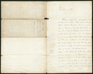 QUEEN VICTORIA (GREAT BRITAIN) - MANUSCRIPT DOCUMENT SIGNED 07/09/1840 CO-SIGNED BY: PRIME MINISTER WILLIAM (VISCOUNT MELBOURNE II) LAMB (GREAT BRITAIN), JOHN PARKER, SIR THOMAS WYSE