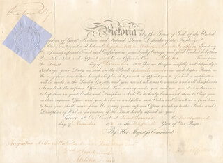 Autographs: QUEEN VICTORIA (GREAT BRITAIN) - MILITARY APPOINTMENT SIGNED 11/22/1880 CO-SIGNED BY: HUGH CHILDERS