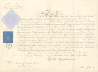 Autographs: QUEEN VICTORIA (GREAT BRITAIN) - MILITARY APPOINTMENT SIGNED 02/14/1873 CO-SIGNED BY: EDWARD CARDWELL
