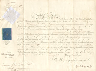 Autographs: QUEEN VICTORIA (GREAT BRITAIN) - MILITARY APPOINTMENT SIGNED 01/26/1858 CO-SIGNED BY: GEORGE CORNEWALL (2ND BARONET) LEWIS