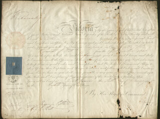 QUEEN VICTORIA (GREAT BRITAIN) - MILITARY APPOINTMENT SIGNED 01/06/1845