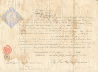 Autographs: QUEEN VICTORIA (GREAT BRITAIN) - MILITARY APPOINTMENT SIGNED 09/02/1880 CO-SIGNED BY: HUGH CHILDERS