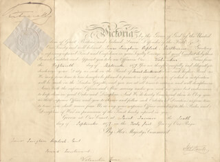QUEEN VICTORIA (GREAT BRITAIN) - MILITARY APPOINTMENT SIGNED 09/06/1877 CO-SIGNED BY: GATHORNE (EARL OF CRANBROOK I) HARDY