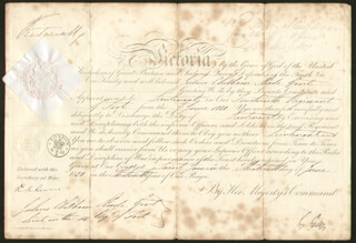 Autographs: QUEEN VICTORIA (GREAT BRITAIN) - MILITARY APPOINTMENT SIGNED 06/30/1850 CO-SIGNED BY: HENRY GEORGE EARL GREY III