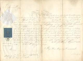 QUEEN VICTORIA (GREAT BRITAIN) - MILITARY APPOINTMENT SIGNED 08/28/1852 CO-SIGNED BY: SPENCER HORATIO WALPOLE