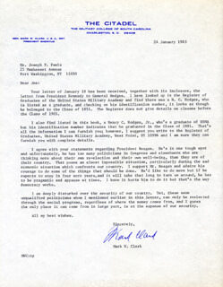 Autographs: GENERAL MARK W. CLARK - TYPED LETTER SIGNED 01/24/1983