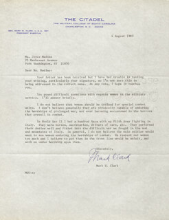 Autographs: GENERAL MARK W. CLARK - TYPED LETTER SIGNED 08/04/1980