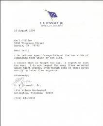 ADMIRAL ELMO R. ZUMWALT JR. - TYPED LETTER SIGNED 08/16/1990