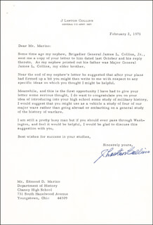 GENERAL J. LAWTON COLLINS - TYPED LETTER SIGNED 02/02/1971