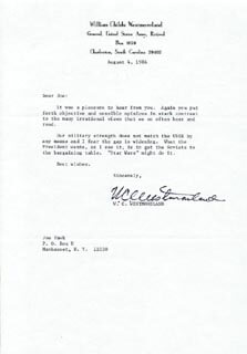 GENERAL WILLIAM C. WESTMORELAND - TYPED LETTER SIGNED 08/04/1986