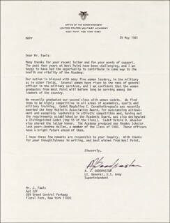 GENERAL ANDREW J. GOODPASTER - TYPED LETTER SIGNED 05/29/1981