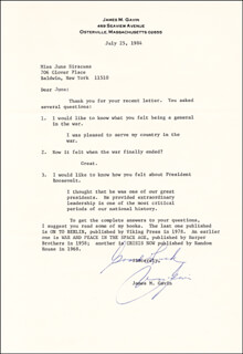 LT. GENERAL JAMES M. GAVIN - TYPED LETTER SIGNED 07/25/1984