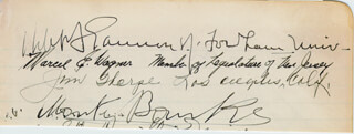 Autographs: JIM THORPE - SIGNATURE(S) CIRCA 1941 CO-SIGNED BY: MONTY BANKS, MARCEL E. WAGNER, GRACIE FIELDS, ROBERT IGNATIUS GANNON