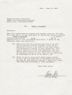 WILLIAM HOLDEN - CONTRACT SIGNED 06/13/1975