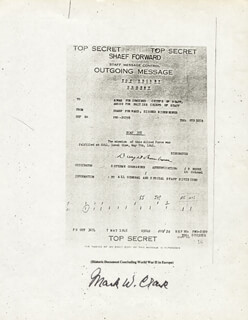 GENERAL MARK W. CLARK - DOCUMENT SIGNED