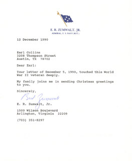 ADMIRAL ELMO R. ZUMWALT JR. - TYPED LETTER SIGNED 12/12/1990