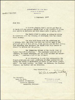 Autographs: ADMIRAL WILLIAM D. LEAHY - TYPED LETTER SIGNED 02/09/1937
