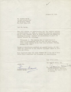 FREDRIC MARCH - DOCUMENT SIGNED 10/30/1950 CO-SIGNED BY: ARMINA MARSHALL