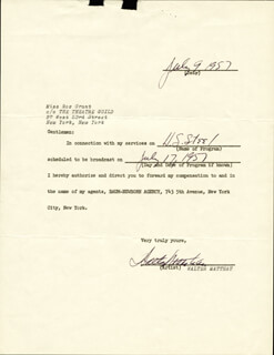 WALTER MATTHAU - DOCUMENT SIGNED 07/09/1957