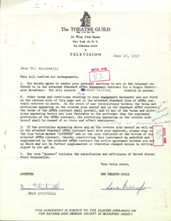 DEAN STOCKWELL - DOCUMENT MULTI-SIGNED 06/27/1957