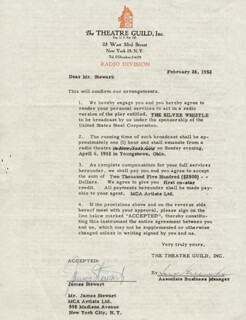 JAMES JIMMY STEWART - DOCUMENT SIGNED 02/26/1952
