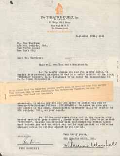 REX HARRISON - DOCUMENT SIGNED 09/25/1946 CO-SIGNED BY: ARMINA MARSHALL