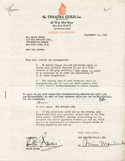 DAVID NIVEN - DOCUMENT SIGNED 09/11/1950