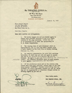 GINGER ROGERS - DOCUMENT SIGNED 01/26/1951 CO-SIGNED BY: SARA GREENSPA